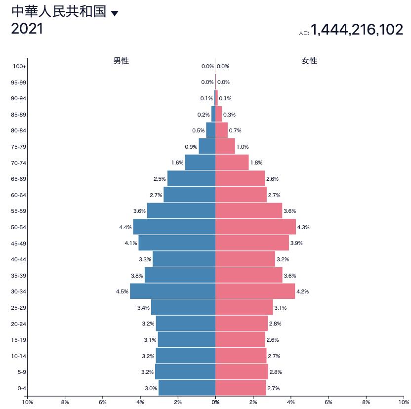 2020年時点の中国の人口ピラミッド